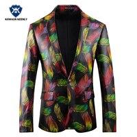 Одной кнопки искусственная кожа Blazer Для мужчин Slim Fit печатных Красочные Блейзер роскошный Повседневное праздничный костюм куртка для выпус...