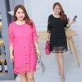 Fat plus big size female women lace loose vintage long designer style summer dresses free drop shipping wholesale WT2230