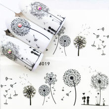 LOLEDE 1Sheet Lovers Under Dandelions Nail Sticker Flower Decal Sliders for Nail Art Decoration Tattoo Manicure Wraps Tool 1007(China)