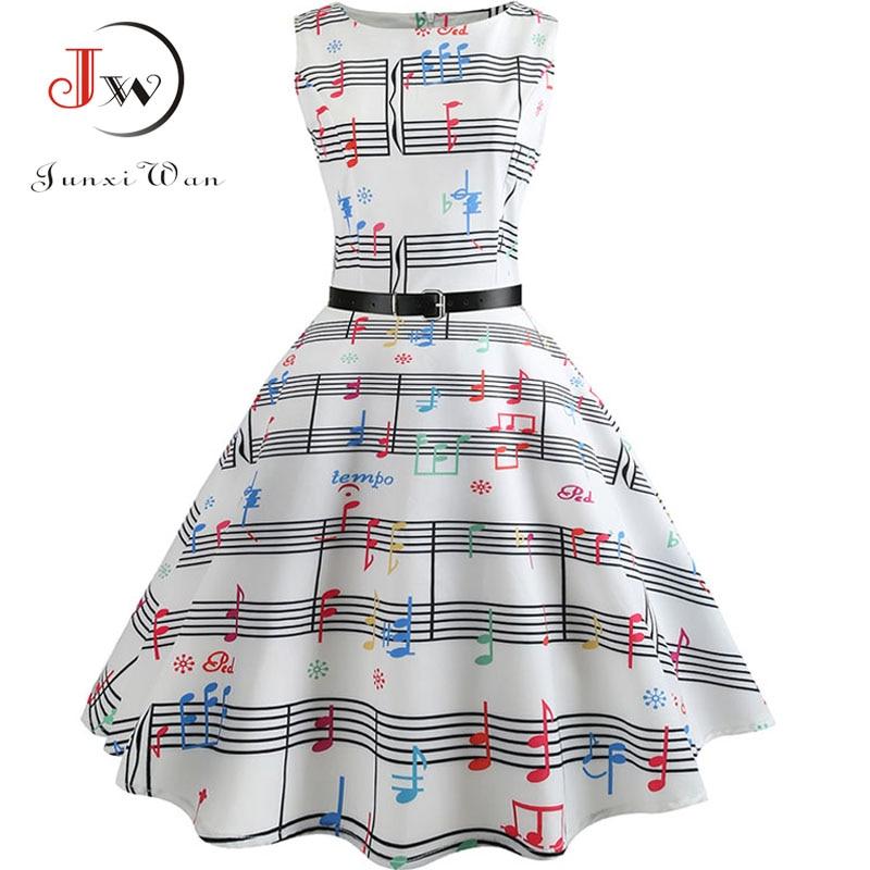 White Music Note Dress Summer Women  High Waist Floral Runway Sundress Tunic Robe Elegant Vintage Retro Rockabilly Dresses