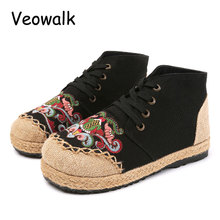 Veowalk Buddhism Totem Embroidered Women's High Top Linen Canvas Sneakers Retro Woman Lace-up Patchwork Flat Platforms Shoes