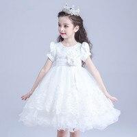 Formalne Party Girl Dresses Zachodnia Styl Dziecko Biała Księżniczka Flower Girl Vestidos Suknia Dla Dzieci Ubrania 2017 Lato AKF164025