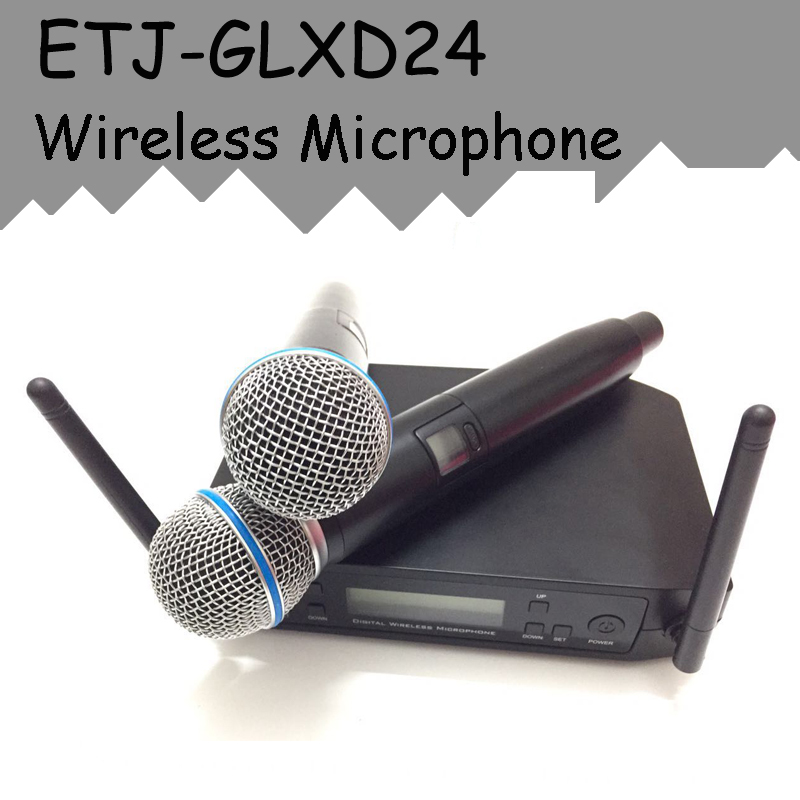 ETJ Brand UHF Dual Wireless Microphone System GLXD24/BETA58 GLXD4 GLXD2 MIC for Stage More Channel Than SLX24 And PGX24 hot sale rechargeable handheld mic 200 selectable channel em3033 skm 5200 skm5200 wireless microphone system for stage ka