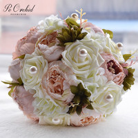 PEORCHID Free Shipping Bride Holding Flowers Artificial Flower Silk Rose Bridal Bouquet Pearl Wedding Peonies Bouquets Decor