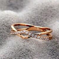 CA 35 2018 New Fashion Rose Gold Color Heart Shaped Wedding Ring for Woman