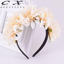 CXADDITIONS Hair Band Floral Crown Headband Chrysanthemum Flower Grass Leaves Black Hairband Women Girls Bridesmaids Wedding