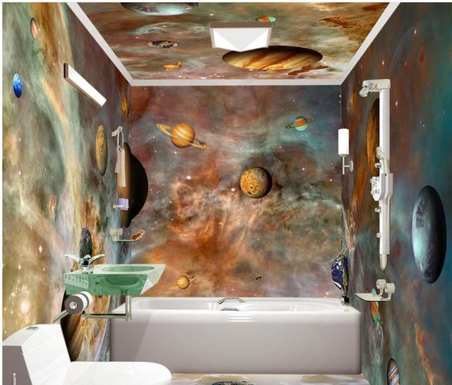 hermosos pisos de cocina 4726 3d Impermeable Pisos De Vinilo Papel Pintado Hermoso Planeta En El Espacio De Escritorio De La Cocina Piso 3d Murales De Papel Pintado Del