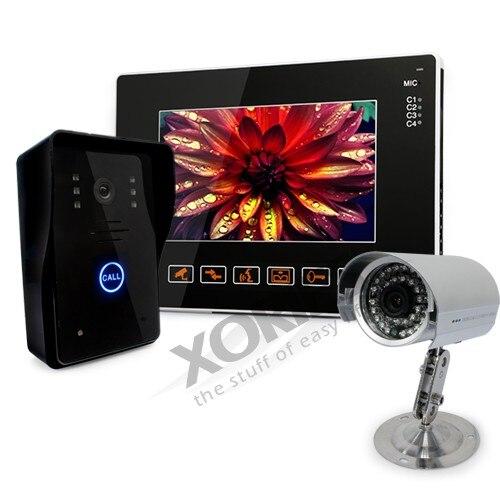 HOMSECUR 9 LCD IR puerta timbre del teléfono sistema de seguridad del hogar + 1 cámara CCTV para monitorizar - 2