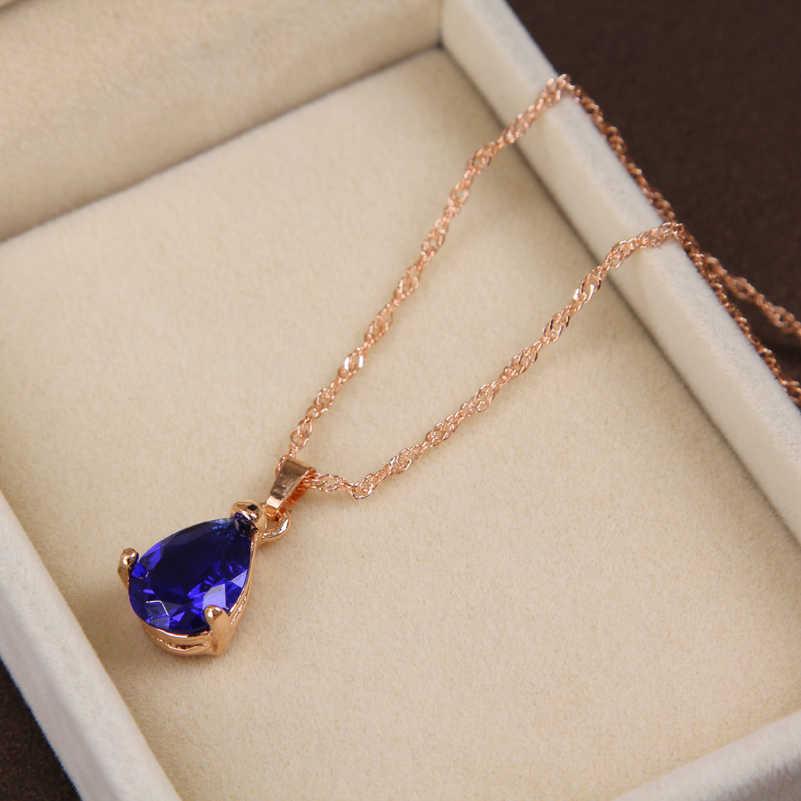 MINHIN אופנה זהב-צבע תכשיטי סט תלתן סגנון שרשרת & עגיל & טבעת לחתונה אביזרי רויאל כחול תכשיטים סט