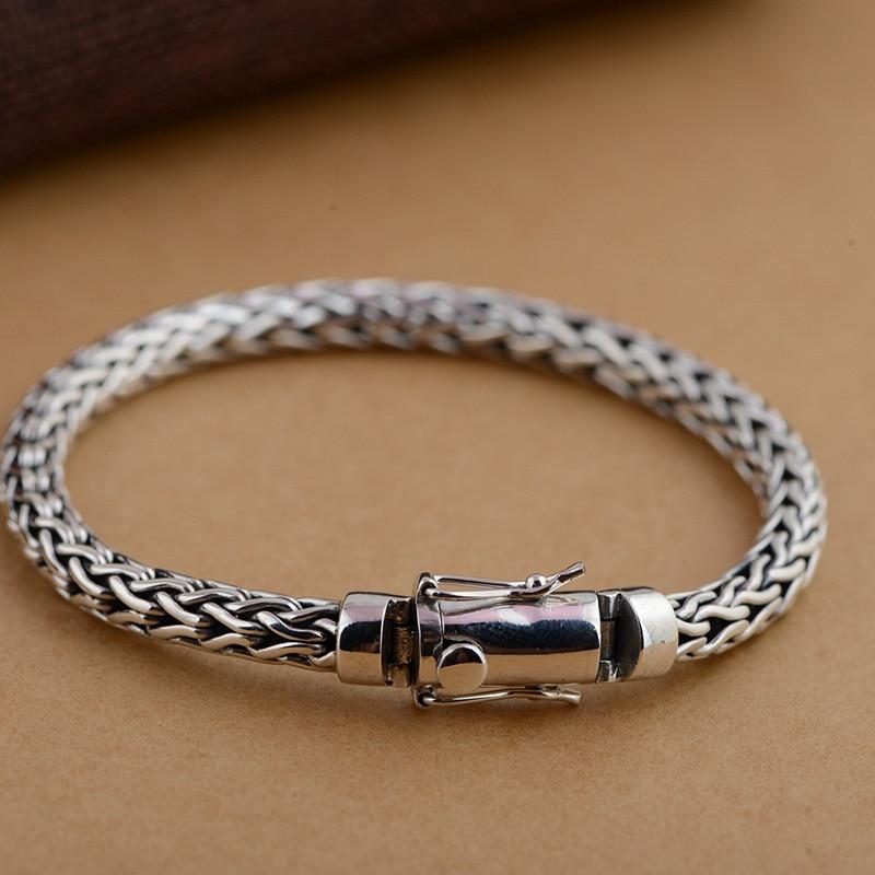 GZ 925 Silver Bracelet Vintage Reticular width 6mm 20cm 21cm Big Chain S925 Thai Silver Bracelets for Men Jewelry 925 silver bracelet men friendship bracelets 20cm mens jewellery 11mm