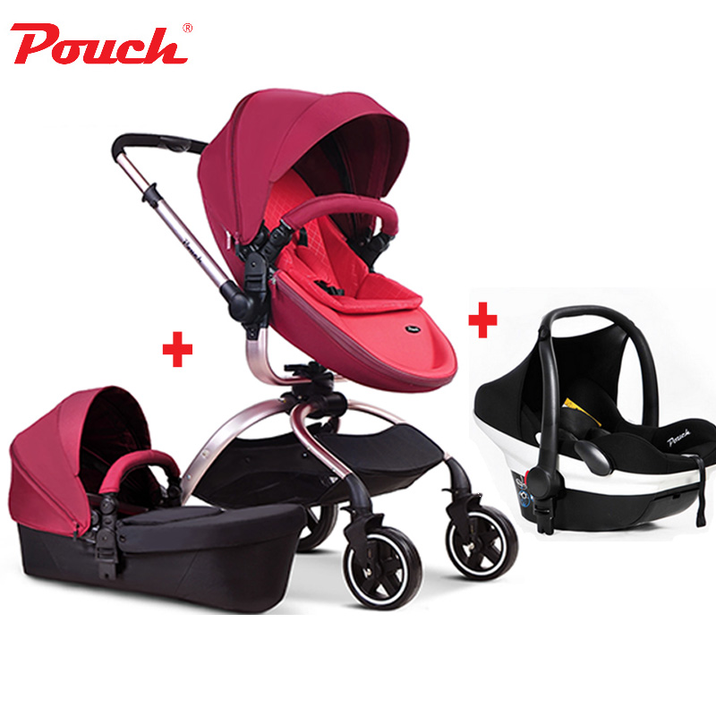 Free ship! In Stock Brand baby strollers 2017 Pouch Stroller 3 in 1 car seat baby sleeping newborn luxury leather carriage 2017 special offer direct selling european baby strollers export brand baby strollers 2 in 1 carriage 3 with car seat