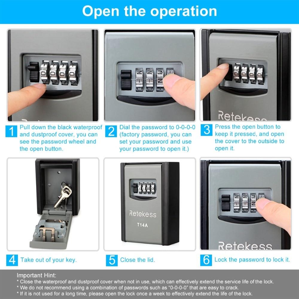 Retekess T14A Wall Mounted Key Storage Organizer Boxes with 4 Digit  Combination Lock Spare Keys Organizer Metal Secret Safe Box