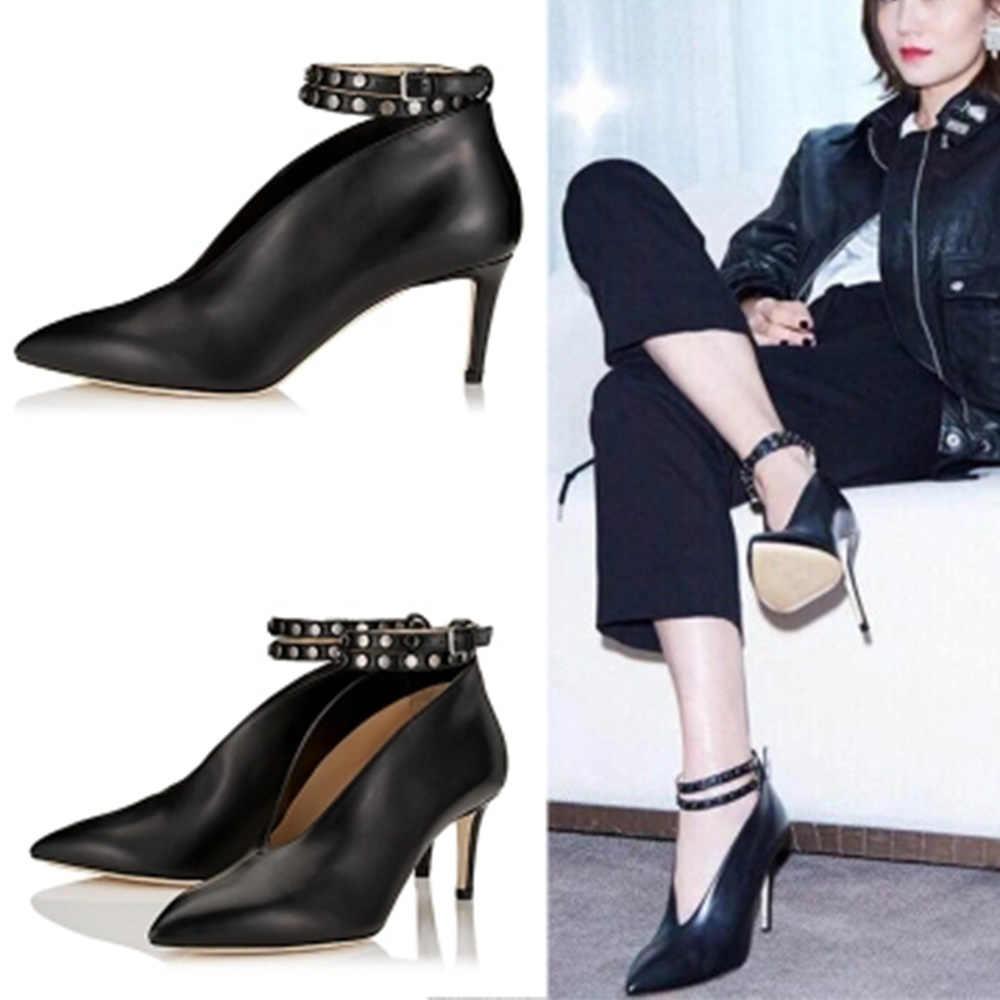 WEIQIAONA 2019 ยี่ห้อใหม่ Star รุ่นแฟชั่นรองเท้าผู้หญิง Pointed Toe รองเท้าส้นสูงของแท้หนังแต่งงานรองเท้ารองเท้าผู้หญิง
