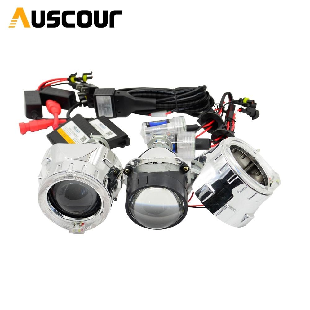 Lentille de projecteur bixenon 2.5 pouces avec jour DRL ange yeux ange yeux caché kit xénon H1 H4 H7 caché projecteur lentille phare
