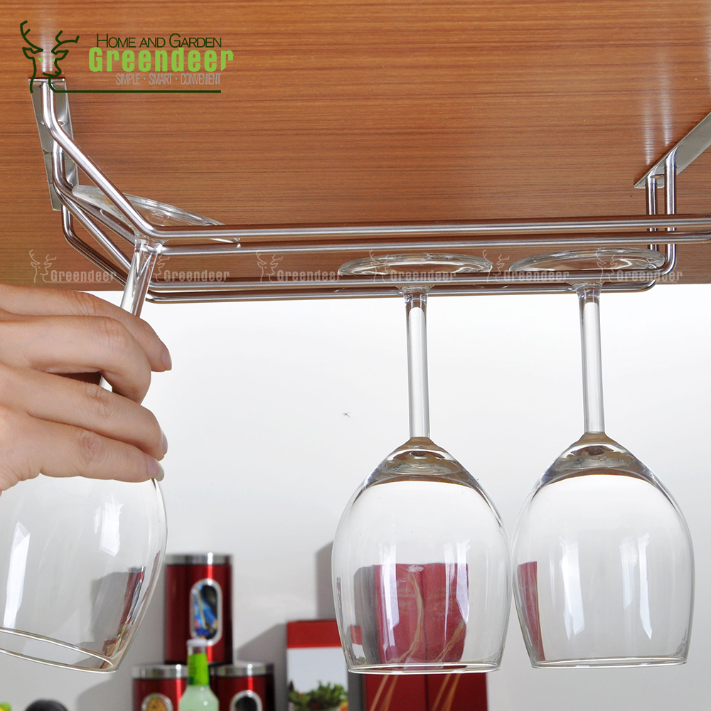 under cabinet wine glass rack. Double Row Glass Rack Stainless Steel Wine Holder Under Cabinet Stemware Hanging Cup Champagne Rack-in Racks From Home \u0026 Garden N