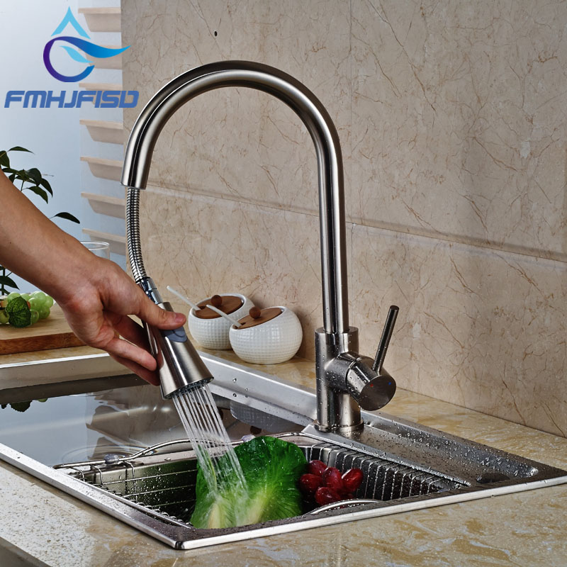 Wholesale And Retail Luxury Pull Out Nickel Brushed Kitchen Faucet Swivel Spout Vessel Sink Mixer Tap Single Handle Hole