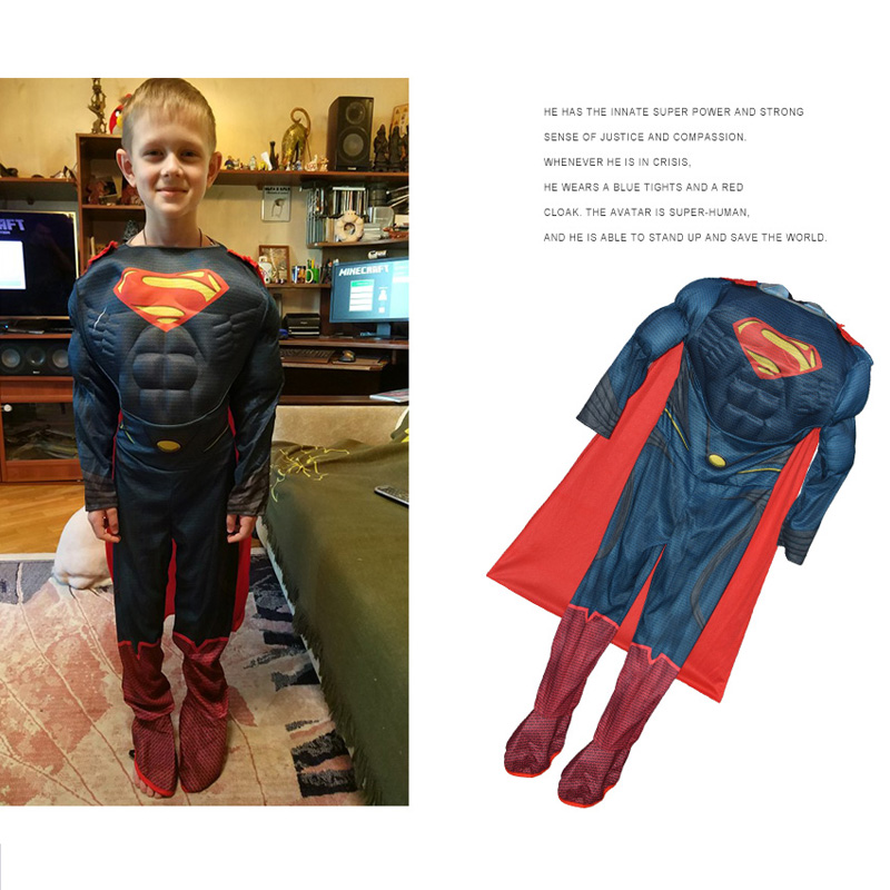 JYZCOS Superman Costumes Halloween Costumes for Kids Boys Anime Superhero Avengers Cosplay Purim Carnival Party Costume in Boys Costumes from Novelty Special Use