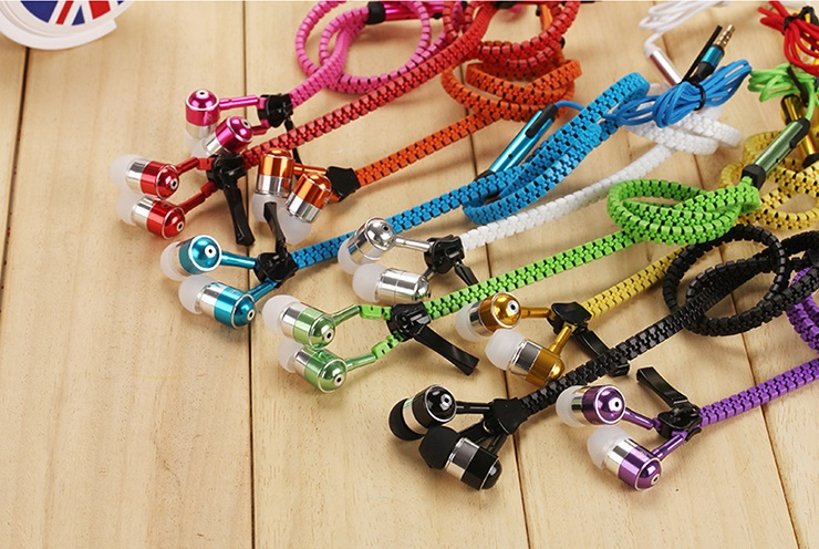 Brand Colorful Zipper Earphones 3.5mm in-ear Earphone with Microphone for IPHONE for Samsung (Pink Blue Black White Purple) songqu sq ip2011 stylish in ear earphones w microphone blue black white