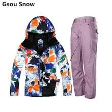 2017 Gsou Snow winter ski suit men snow ski wear snowboard jacket men snow pants chaqueta esqui hombre mountain skiing wear