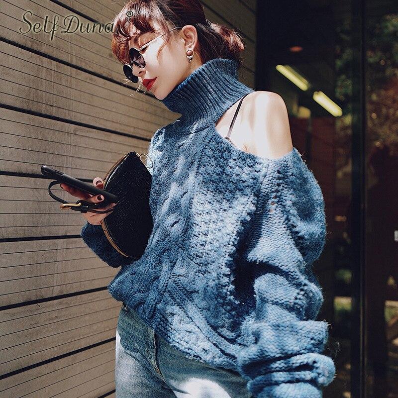 Самостоятельная Duna 2018 осенне зимний свитер с высоким воротником Свободный Повседневный пуловер с длинным рукавом Теплый Женский вязаный свитер с открытыми плечами