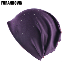 Autumn Beanie Women Solid Color Rhinestone Skullies Beanies Female Fashion Hat Spring Cotton Bonnet Turban Caps