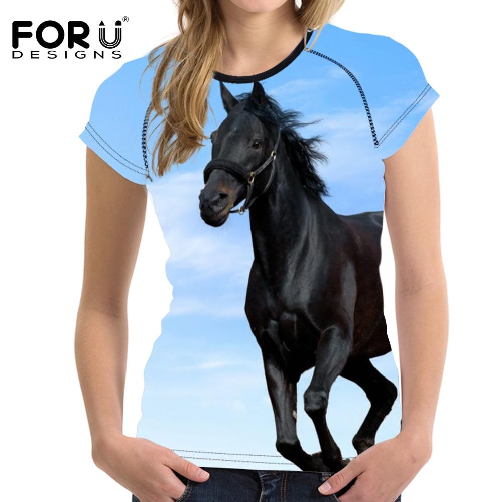 FORUDESIGNS Blue 3D Horse Prints Camiseta de mujer Horse Horse Tops O - Ropa de mujer