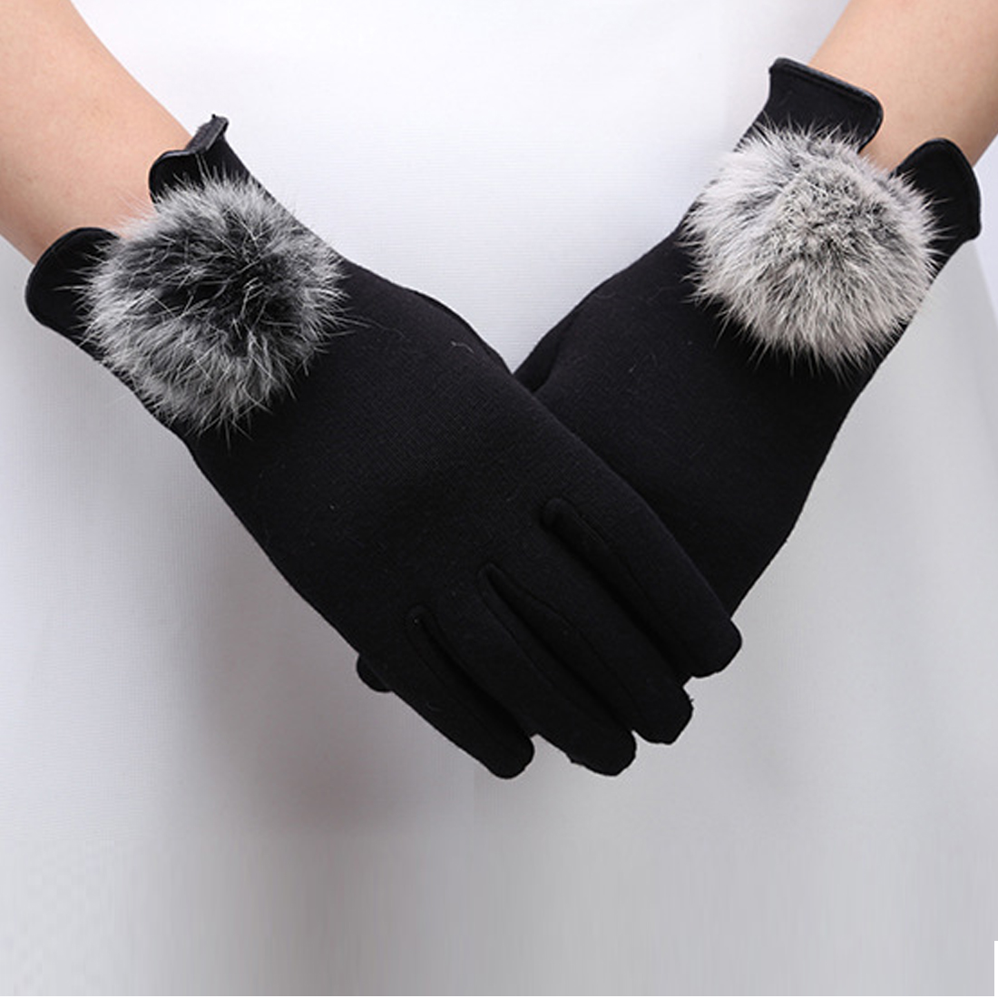 Fashion Women Winter Elegant Cotton Gloves Real Rabbit Fur Pompom Cotton Glove Touch Screen Driver's Gloves Mittens