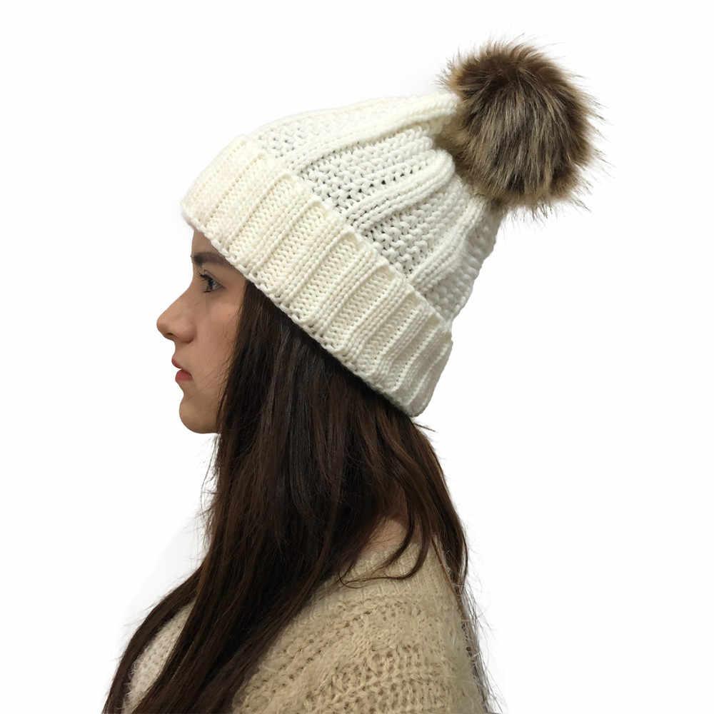 女の子暖かいスキー 2019 新ブランドビッグ毛皮ポンポン poms ボールニット帽子スカーフ帽子セット冬の女性のビーニー帽子厚い Skullies 女性 F30