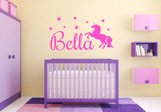 Personalized S Unicorn Name Monogram Wall Decal Graphic Vinyl Sticker Home Bedroom Decor Baby Nursery