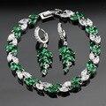 Сделано в Китае Зеленый Создания Изумрудный Белый Серебряные Цвета Ювелирные Наборы Серьги Браслет Для Женщин Бесплатный Подарочная Коробка