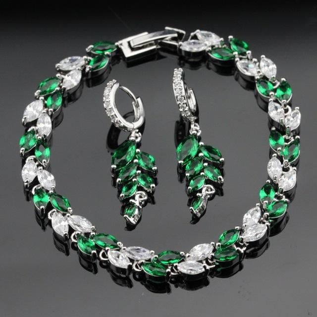 Made in China Criado Verde Esmeralda Branco CZ Conjuntos de Jóias Brincos Pulseira Para As Mulheres de Cor Prata Caixa de Presente Livre