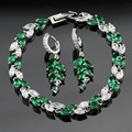 Made in China Green Created Emerald White CZ Silver Color Jewelry Sets Drop Earrings Bracelet For Women Free Gift Box