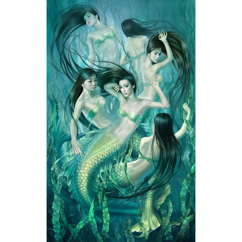 Mermaids Wall Art Print Canvas Minimalist Poster,Home Decor Frames Not included Painting Canvas Art HD Wall Picture For Bed Room