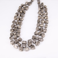 10 12mm Titanium Light Gold Iron Pyrite Drilled Cube Shape Pendants Strand Nuggets Raw Iron Pyrite