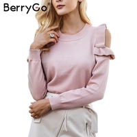 BerryGo Casual Cold Shoulder Knitted Sweater Women Elegant Selvedge Sweater Stringy Pullover Female Autumn Winter Jumper