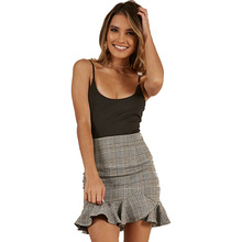 Italy summer hot new fashion casual ruffled plaid striped high waist sexy slim ladies skirt