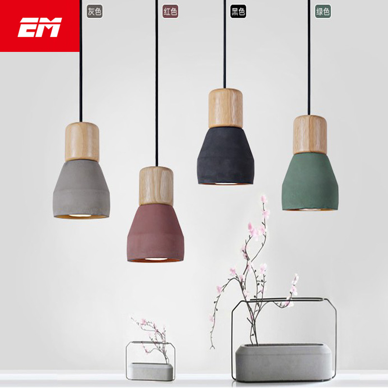 Country Style cement Led Pendant Light 120cm wire E27 Socket Droplight wood indoor Decoration kitchen Hanging