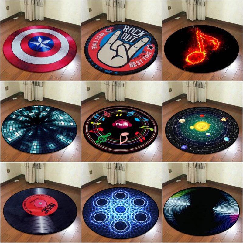 Creative Geometric Music pattern Round Carpets For Living Room Bedroom Area Rugs And Carpet Kids Room Computer Chair Floor Mats