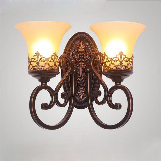 European Retro Minimalist Led Wall Lamp Bedroom Bedside Iron Art Lighting Fixtures Bathroom Balcony Aisle
