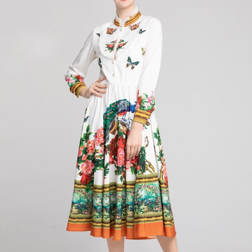 High quality new fashion summer bohemian dress Women's Long Sleeve Peacock Flower Print Elegant Casual Appliques Mid Calf Dress