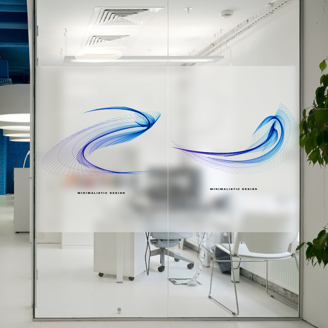 Nice Poetry Charm Stained Window Film Frosted Static Privacy Glass Film For  Company Office Conference Room Decoration