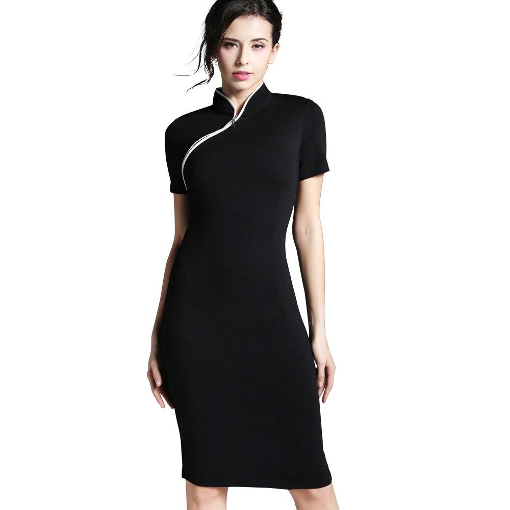 Хороший-Forever, женское, официальное, элегантное, стоячий воротник, рокабилли, пинап, плюс размер, короткий рукав, Ретро стиль, бодикон, Бизнес Стиль, для работы, платье, b60