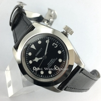 41mm Corgeut Leather Strap Sapphire Glass Polished Black Dial Automatic Mens Watch