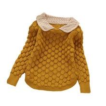 2017 kids new fashion kids sweater Girls peter pan collar flower sweater children sweater girls sweater