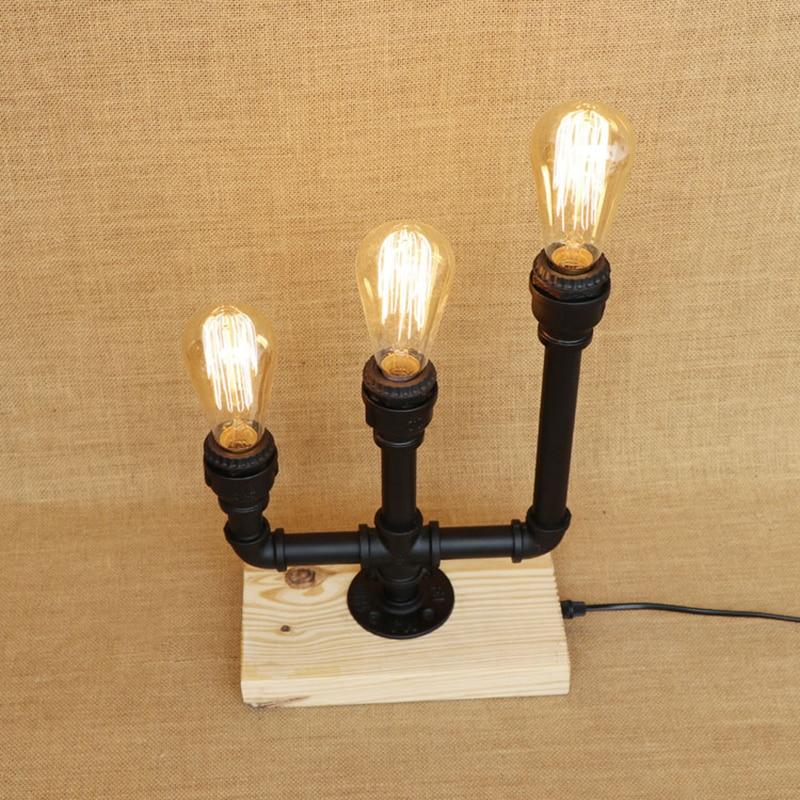 Vintage 3 lights iron Candlestick industrial desk lamp Wood base lamp with switch LED light for caffe bedside restaurant 220V