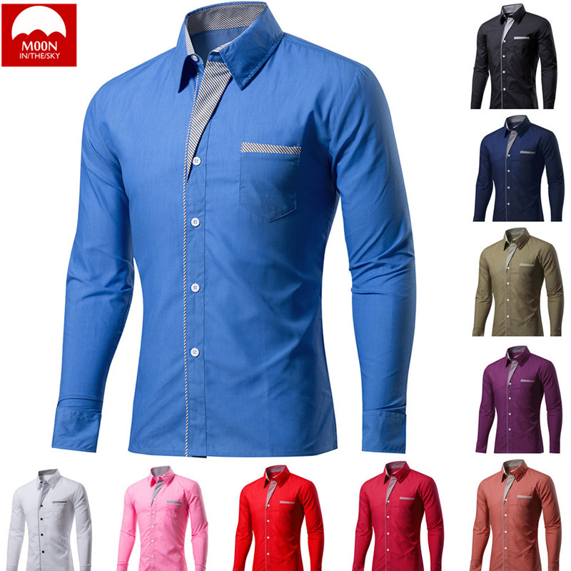 MOON 4XL New Fashion Brand Men Camisa Masculina Long Sleeve Shirt Men Korean Slim Design Formal Casual Male Dress Shirt CS-024