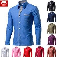 MOON 4XL New Fashion Brand Men Camisa Masculina Long Sleeve