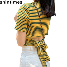 Camisetas Verano Mujer 2019 The New Tshirt Women Summer Vogue Striped Backless Tee Shirt Femme Cotton Slim Bow Woman Tops