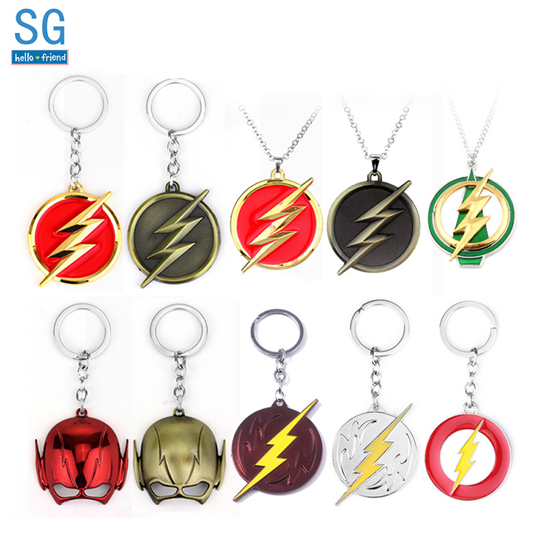 SG DC Hot Movie The Flash Keychains Pendants Red Yellow Shazam Flash Lightning Logo Choker Keyring For Women Men Fans Gifts