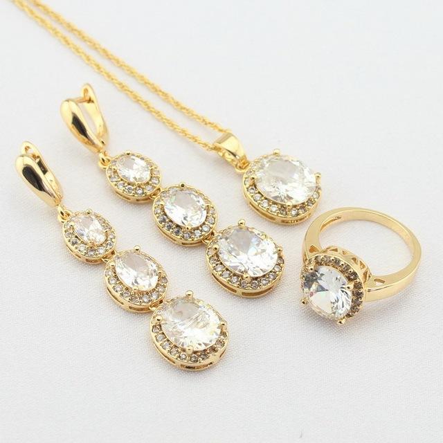 WPAITKYS Das Mulheres Cor De Ouro Conjuntos de Jóias Zircão Branco Rodada Brincos Longa Queda/Colar Pingente Anéis Caixa de Presente Livre